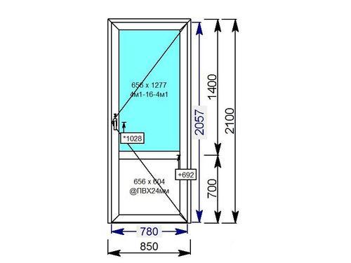 Дверь пластиковая одностворчатая со стеклопакетом и ПВХ вставкой