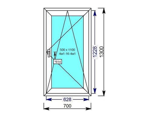 Поворотно-откидное одностворчатое окно