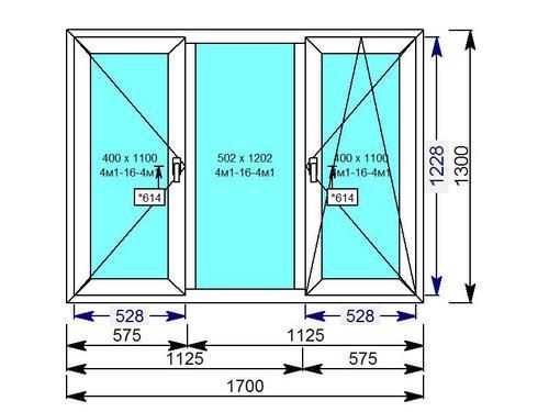 Трехстворчатое окно, центральная створка глухая, левая - поворотная, правая - поворотно-откидная