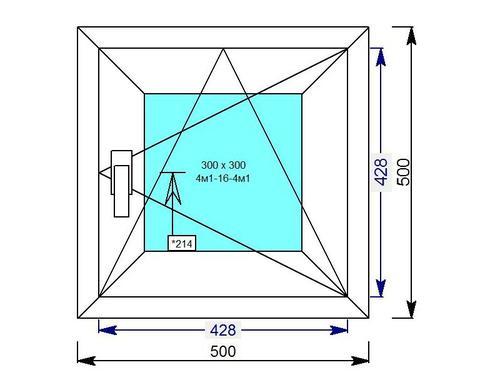 Одностворчатое квадратное окно, поворотно-откидное